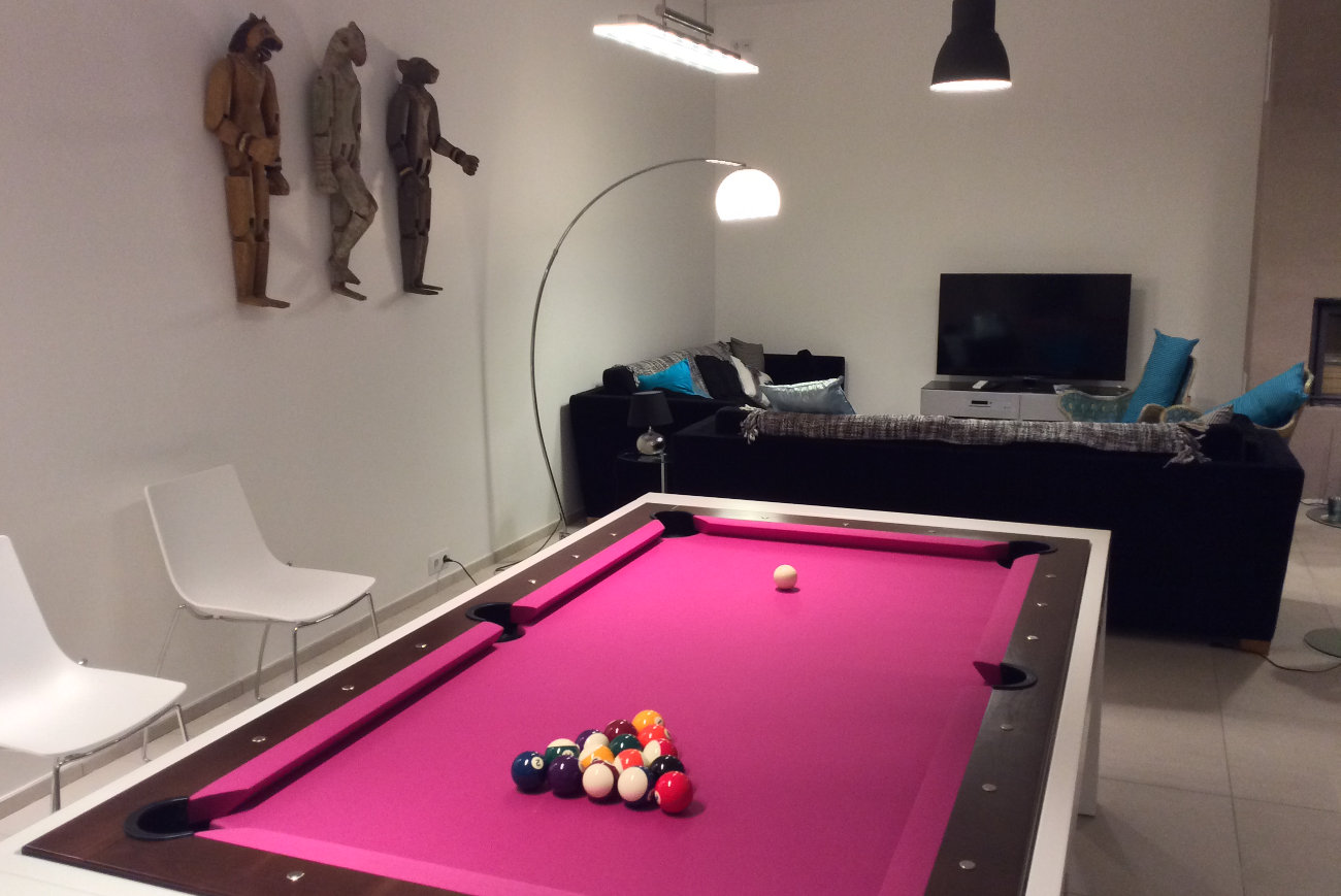 Pool table, TV and multimedia, puppets decoration